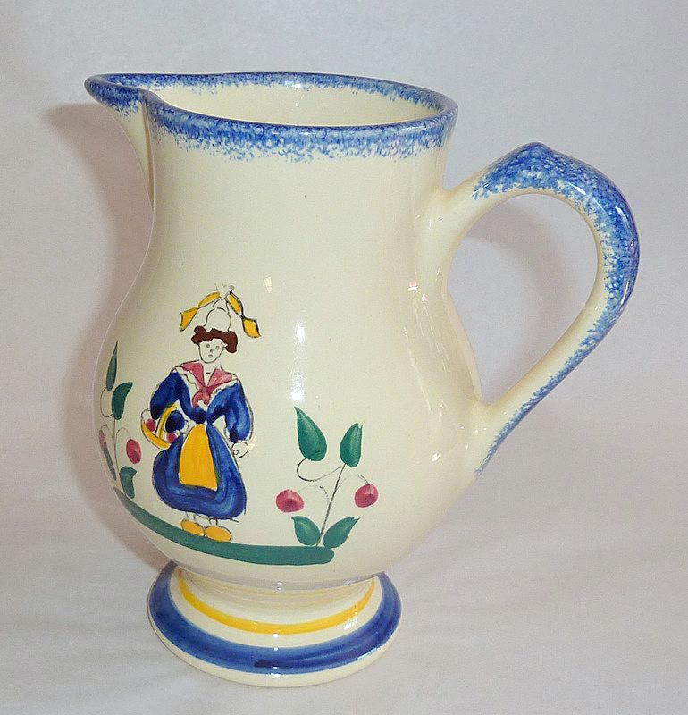"Wonderful Hand Painted Vintage Bretagne Pottery 6"" Milk Pitcher"