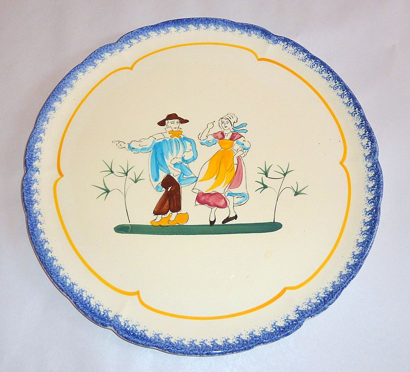 "Wonderful Vintage Bretagne Faience hand painted Breton Dancers 13"" Platter"