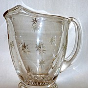 "Vintage 8 1/2"" Ice Lip Crystal Pitcher with Hand Cut Stars Across Body"