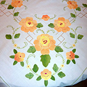 "Vintage Yellow Roses Floral Applique 120"" X 69"" Tablecloth"