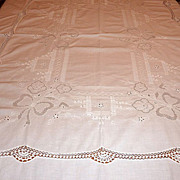 Vintage Embroidered & Crocheted 84&quot; X 66&quot; White Tablecloth