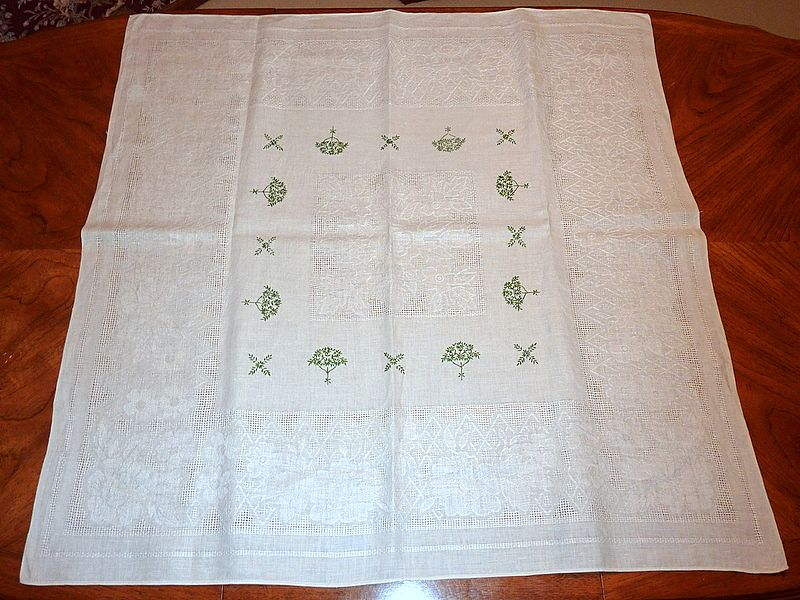 "Vintage Embroidered 41"" X 41"" White Linen Tablecloth Green Flowering Trees"