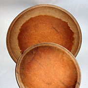 2 Antique Hand Turned Primitives Wood Dough Rising Bowls - Out of Round