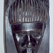 Vintage 1960's Africa Ebony Wood 11&quot; Primitive Male Head Sculpture