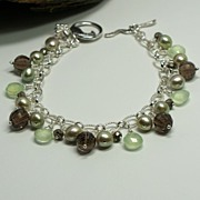 Gemstone Charm Bracelet ~ Smoky Quartz, Pyrite, Prehnite And Cultured Freshwater Pearls in Ste