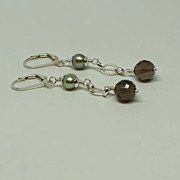 Smoky Quartz Cultured Freshwater Pearl Dangle Earrings