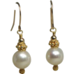 White Cultured Freshwater Pearl, Nearly Round, 14kt Gold-Fill Drop Earrings