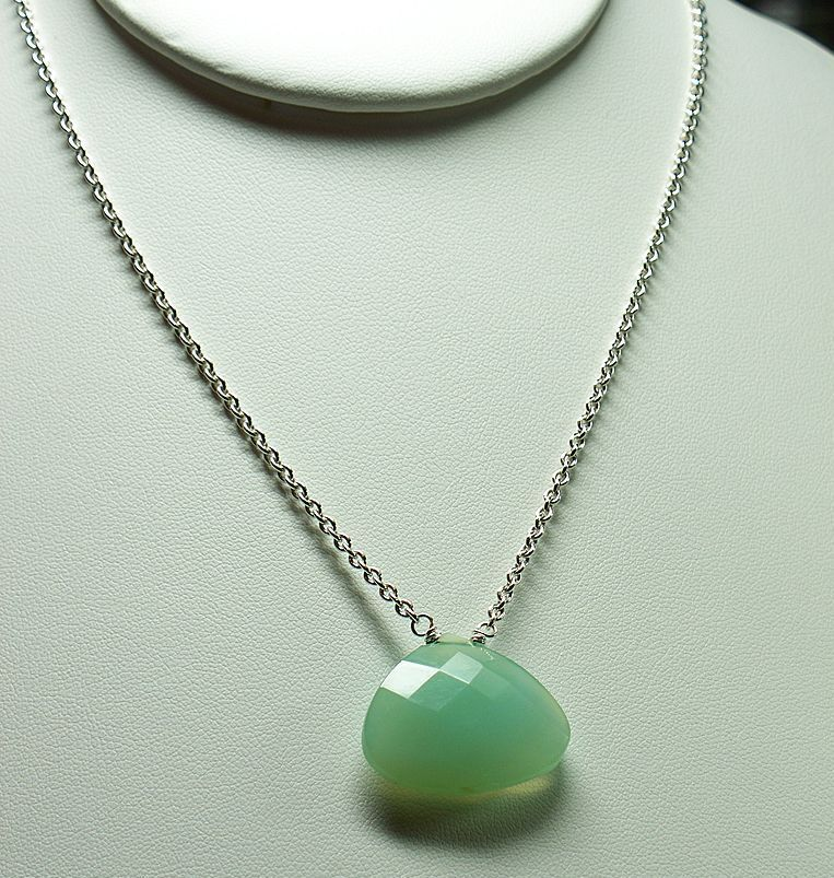 Aqua Chalcedony Pendant,  Sterling Silver Chain Necklace