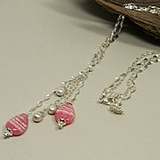 SOLD Rhodochrosite And Satin Briolette, Sterling Silver Double Chain, Drop  Y-Necklace