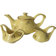 Pearl China Gold Floral and Yellow Tea Set
