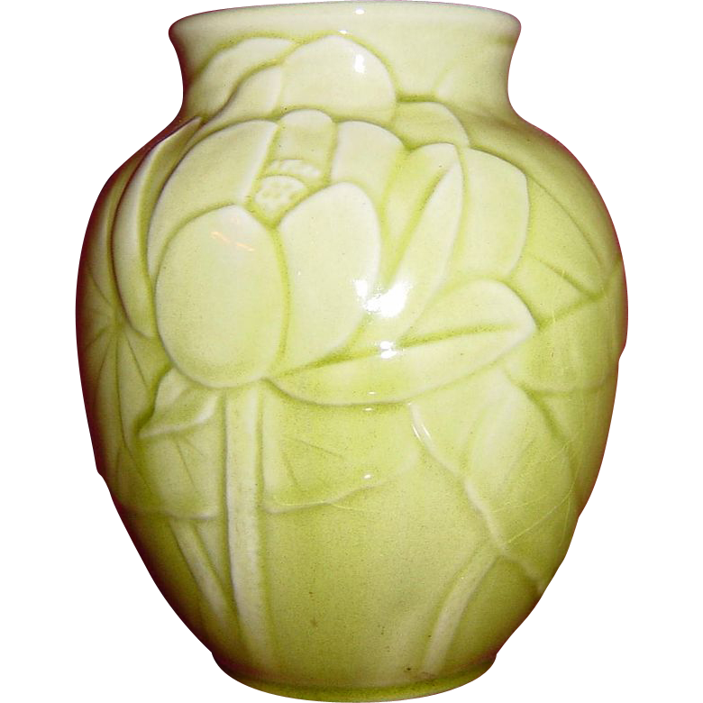 Rookwood Light Green Water Lily and Lily Pad Vase #6833 c.1948