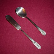 Wm Rogers Silverplated Jubilee Butter Knife and Sugar Spoon