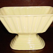Brush Pottery Large Yellow Pedestal Planter or Vase