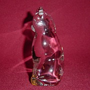 Crystal Clear Glass Cat Paperweight Figurine