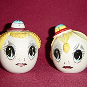 Japan Boy & Girl Big Eyed Heads Sat & Pepper Shakers