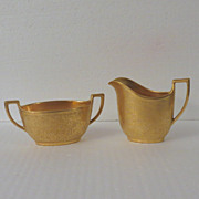 Limoges Union Ceramique Gold Encrusted Creamer and Sugar