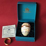 "Bilston and Battersea Enamel Egg Trinket Box ""Do think of me...:"