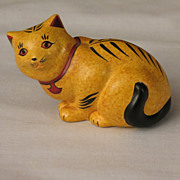 SOLD Franklin Mint Chalkware Curio Cabinet Cat