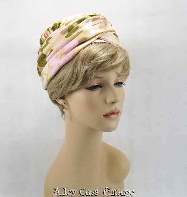 Vintage 1960s 60s Hat Pastel  Organza Ruched Pillbox by Bellini