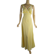 Vintage 1950s Sunny Yellow Bias Cut Nightgown Eastern Isles B36