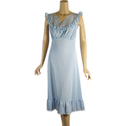 SALE Vintage 1950s 50s Nightgown Philmaid Sky Blue Nylon and Lace B 36-42