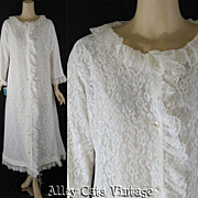 Vintage 1960s 60s Robe White Lace Dressing Gown by Lounge Craft NWT Sz L B42 W46