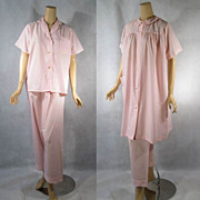 Vintage 1960s 60s Cotton Pajamas and Robe Pale Pink 3 Piece Set Mint New in Package NOS Sz 36 