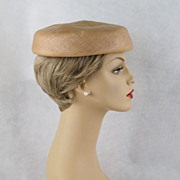 Vintage 1950s Hat Tan Straw Bernard Workman Pillbox