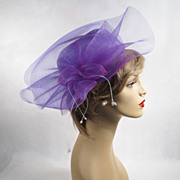 Vintage 1980s 80s Hat Lavender Pillbox with Wild Netting