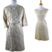 Vintage 1960s 60s Cocktail Party Dress and Jacket Two Piece Gold Brocade R&K Sz XS Petite