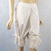 Antique Victorian Pantaloons Ecru Lane Bloomers Draw String Waist Sz XL