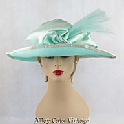 Vintage 1980s 80s Hat Mint Green Straw and Satin Formal Wide Brim by Whittall & Son