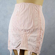 Vintage 1930s-1940s Corset Pink Blendalyne Gossard with Metal Garters Sz 29