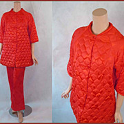 SALE Vintage 1960s 60s Coral Butterfly Quilted Pajama Robe Top with Pajama Bottoms NWT Sz 14 B