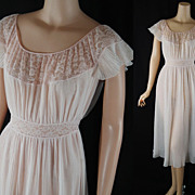 Vintage 1950s 1960s Nightgown Pale Pink Sheer Nylon Crystal Pleat Barbizon Negligee Sz 14 B40