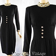 SALE Vintage 1980s 80s Black Santana Knit Cocktail Dress Don Sayres for Wellborn B38 W30