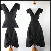 SALE Vintage 1950s 50s Cocktail Dress Black Formal Evening Sz XXS B34 W23 Petite