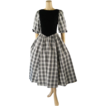 Vintage 1980s 80s Dress Black and White Taffeta Velvet Plaid Cocktail Party B36 W28