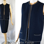 SALE Vintage 1960s 60s Suit Two Piece Navy Blue Boucle Butte Knit Pencil Skirt and Vest B36 W2