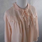 Vintage 1950s 50s Archdale Maid Bedjacket Pink Nylon Crystal Pleat Sz L B44