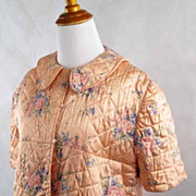 Vintage 1940s 40s Bedjacket Peach Quilted Satin Floral Lingerie B40