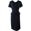 Vintage 1950s 50s Dress Navy Blue Crepe Peplum Vtg Sz 14 1/2 B B40