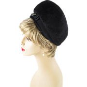 Vintage 60s 70s Hat Black Faux Fur Bubble Crown Pillbox by Wesco Sz 22