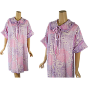 Vintage 1970s 70s Robe Lilac and Pink Floral Pastel Short Dressing Gown Sz XL B46