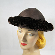 Vintage 1940s 40s Hat Brown Straw Beanie Style with Chenille Ruffles New York Creations