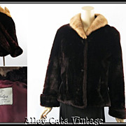 Vintage 1950s Mouton Jacket with Mink Collar from Gatelys Chicago B40 W42
