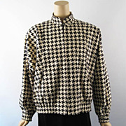 Vintage 1980s Samuel Roberts Black and White Houndstooth Ultrasuede Jacket by Peter Hatsi Andr