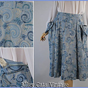 Vintage 1950s Sky Blue Embroidered Circle Skirt W28