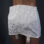 Vintage 1950s White Damask Open Bottom Girdle Corset with Metal Garters by Bestform Sz 31