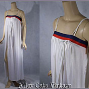 Vintage 1970s Nightgown Barad NWT Red White and Blue Negligee Sz L